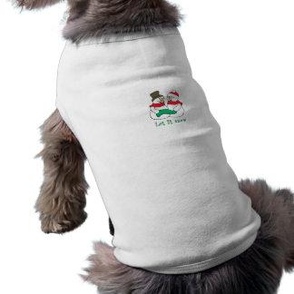 Let it Snow Snowmen Dog Tee Shirt