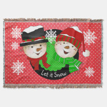 Let it Snow Snowmen Holiday Throw