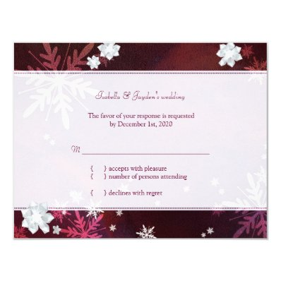Let it Snow Stylish Winter Bling Wedding RSVP 4.25x5.5 Paper Invitation Card