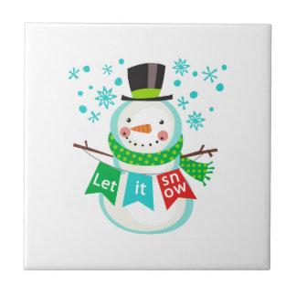 Let It Snow Small Square Tile
