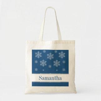 Let it Snow Tote Bag, Blue Budget Tote Bag