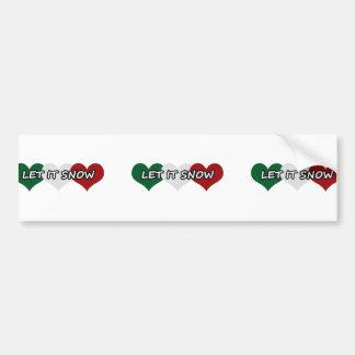 Let It Snow Triple Heart Bumper Sticker