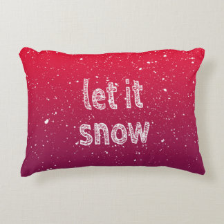 """Let it Snow"" Typography & Red Gradient Accent Pillow"