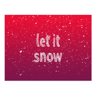 """Let it Snow"" Typography & Red Gradient Postcard"