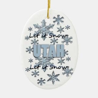 Let it Snow Utah Christmas Ornament