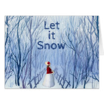 Let It Snow - Winter Forest - Name -Christmas Card