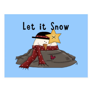 Let It Snow Winter Funny Cute Melted Snowman Postcard
