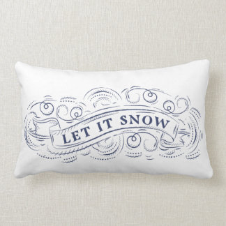 Let It Snow Winter Holiday Accent Pillow in Navy