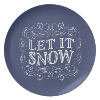 Let It Snow Winter Holiday Platter Plate