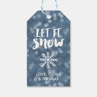 Let It Snow   Winter Night Bokeh Gift Tags