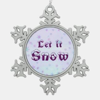 Let it Snow! Winter Sky Snowflakes Polka Dots Snowflake Pewter Christmas Ornament