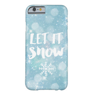 Let It Snow | Wintry Pale Blue Crystal Bokeh Barely There iPhone 6 Case