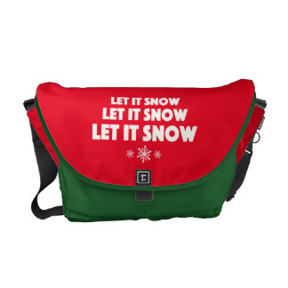 Let It Snow - with snowflakes Courier Bag