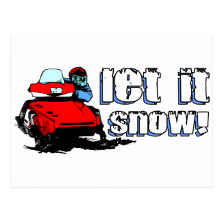 Let It Snowmobile Postcard
