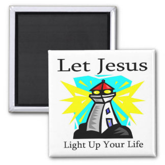 Let Jesus light up your life lighthouse 2 Inch Square Magnet