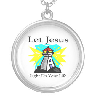 Let Jesus light up your life lighthouse Round Pendant Necklace