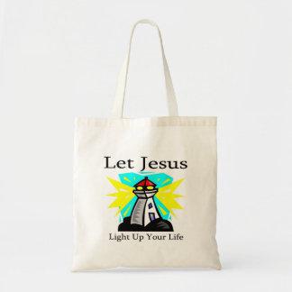 Let Jesus light up your life lighthouse Tote Bag