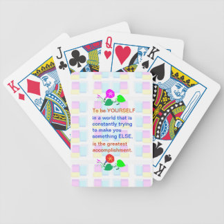 Let KIDS be KIDS : Wisdom words BE YOURSELF Bicycle Playing Cards