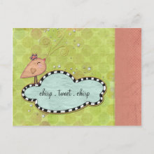 Let Love Chirp Easter Invitation Postcard - Invite everyone you love to Easter brunch with this cute invitation! This adorable invitation features 3D effects, a chirping chick, magical spring colors, and plenty of space to easily add your event information.