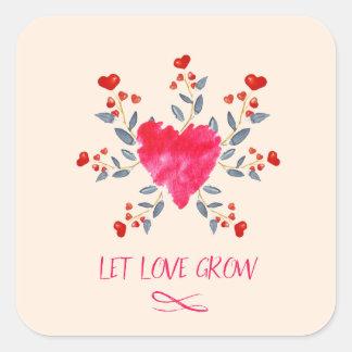 Let Love Grow Romantic Watercolor Hearts Square Sticker