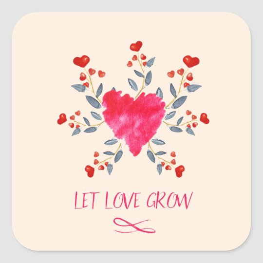 Let love grow romantic watercolor hearts square sticker