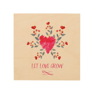 Let Love Grow Romantic Watercolor Hearts Wood Wall Decor