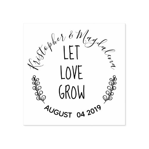 Let Love Grow Rustic Rubber Stamp