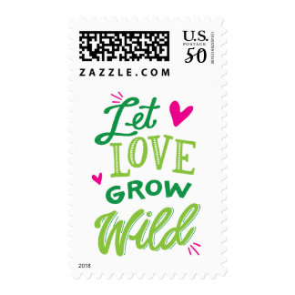 Let Love Grow Wild Coffee Postage Stamp