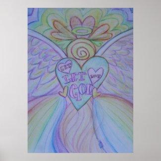 Let Love, Let God Guardian Angel Art Print Poster