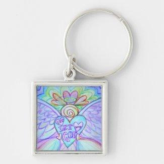 Let Love Let God Guardian Angel Keychain