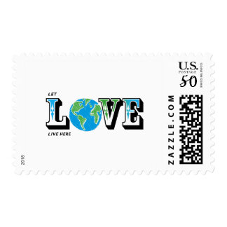 LET LOVE LIVE HERE EARTH POSTAGE STAMP