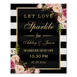 Let Love Sparkle Gold Floral Stripes Wedding Sign