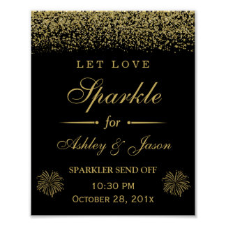 Let Love Sparkle Gold Glitter Wedding Sign