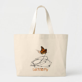 Let Me Fly -  Butterfly Caught in Barbed Wire Jumbo Tote Bag