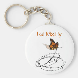 Let Me Fly -  Butterfly Caught in Barbed Wire Basic Round Button Keychain