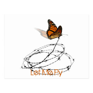 Let Me Fly -  Butterfly Caught in Barbed Wire Postcard