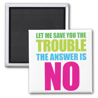 Let Me Save You the Trouble, the Answer Is No 2 Inch Square Magnet