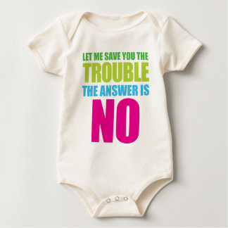 Let Me Save You the Trouble, the Answer Is No Baby Bodysuit
