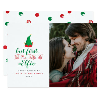 Let Me Take An Elfie Christmas Photo Cards