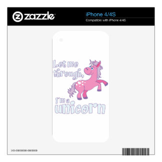 let me through i´m a unicorn decal for iPhone 4