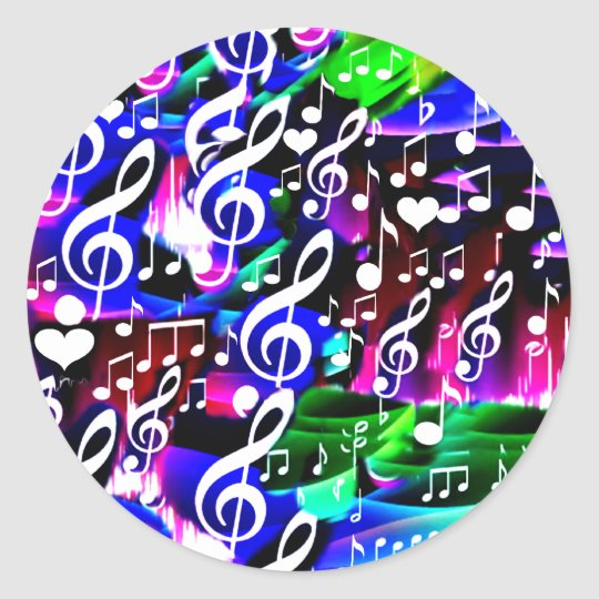 Let music live_ classic round sticker