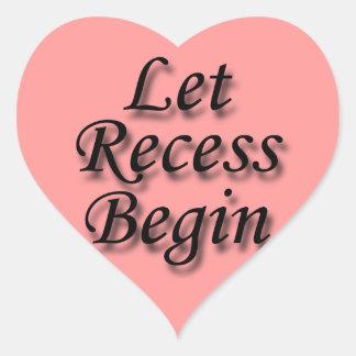 Let Recess Begin black Heart Sticker