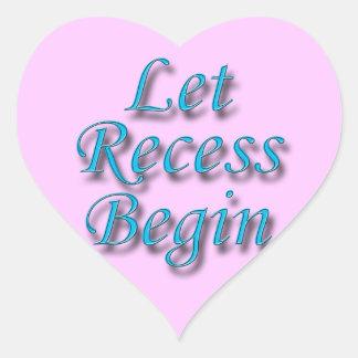 Let Recess Begin blue Heart Stickers