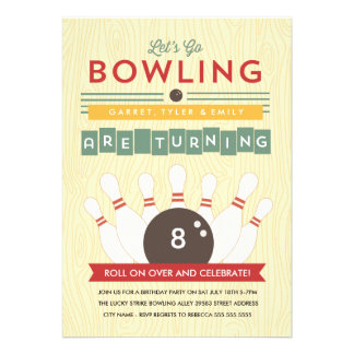 Let s Bowl Multiple Birthday Party Invitation