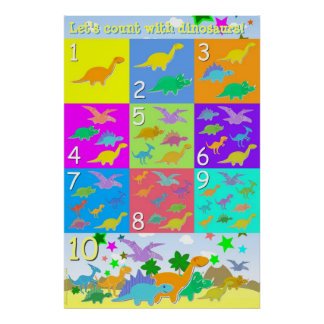 Let s Count With Dinosaurs Numbers 1 - 10 Counting Print