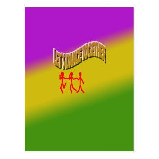 Let`s Dance Together color Background Postcard