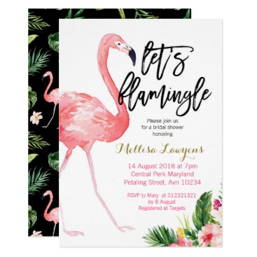 Beach Themed Let's Flamingle Bridal Shower Invitation