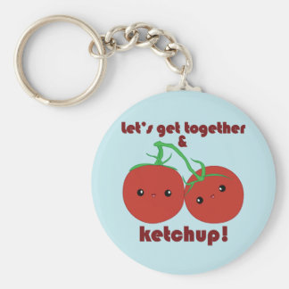 Let's Get Together and Ketchup! Kawaii Tomatoes Basic Round Button Keychain