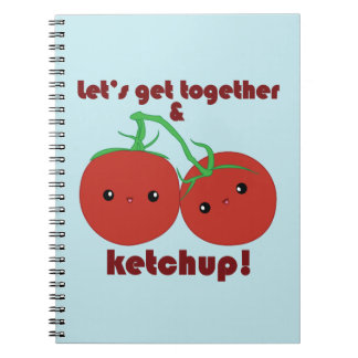 Let's Get Together and Ketchup! Kawaii Tomatoes Spiral Notebook