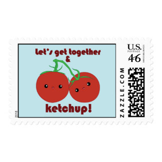 Let's Get Together and Ketchup! Kawaii Tomatoes Stamp